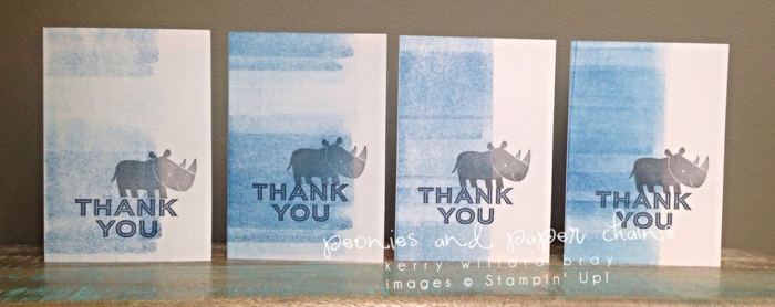 Stampin' Up! Zoo Babies stamp set - thank you cards and banner by Kerry Willard Bray www.peoniesandpaperchains.com