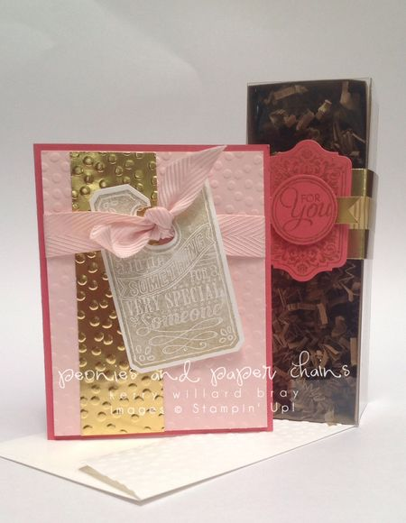 Stampin' Up! Decorative Dots and Chalk Talk card and box by Kerry Willard Bray www.peoniesandpaperchains.com