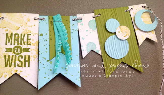 Stampin' Up! Perfect Pennants Gorgeous Grunge mini banner by Kerry Willard Bray www.peoniesandpaperchains.com