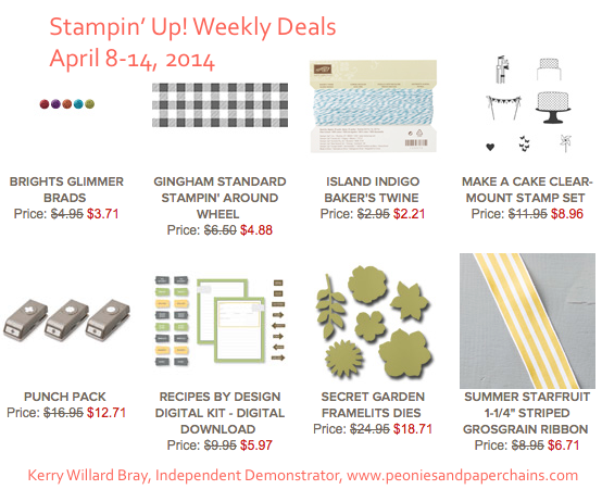 Stampin' Up! Weekly Deals April 8-14, 2014
