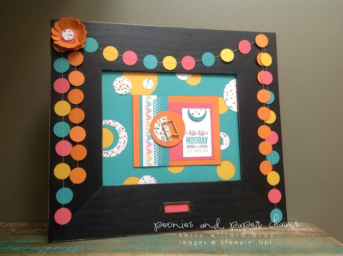 Stampin' Up! #PLxSU Hip Hip Hooray framed art by Kerry Willard Bray www.peoniesandpaperchains PPA204 with garland