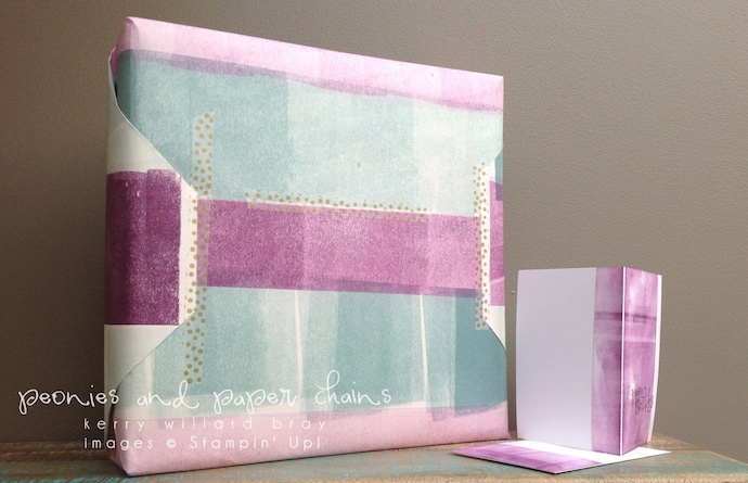 Stampin' Up! Blackberry Bliss Lost Lagoon Wrapping Paper by Kerry Willard Bray www.peoniesandpaperchains.com 2