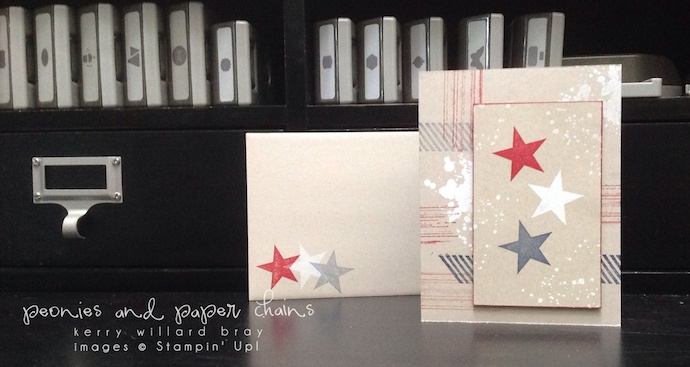Stampin' Up! Perfect Pennants and Gorgeous Grunge stamp sets on a patriotic card by Kerry Willard Bray www.peoniesandpaperchains.com 2