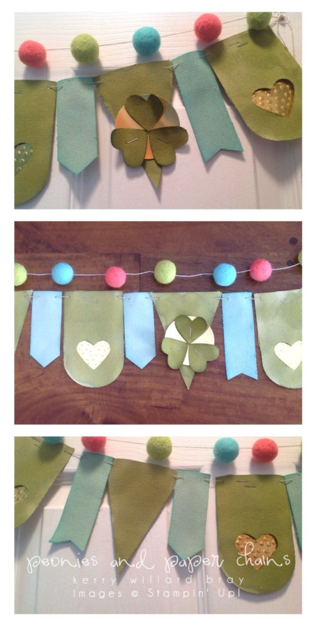 Stampin' Up!, Sale-a-bration Heartfelt Banner Kit, St. Patrick's Day, Kerry Willard Brya, Peonies and Paper Chains blog
