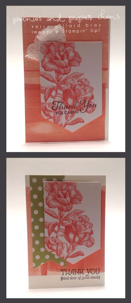 Cards made from Stampin' Up! Heartfelt Banner kit, Kerry Willard Bray, Peonies and Paper Chains blog