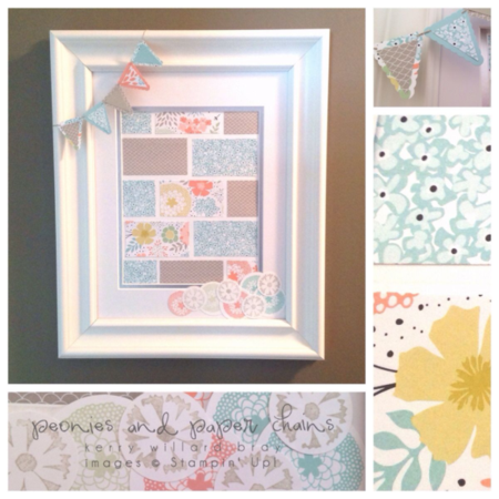 Stampin' Up! Sweet Sorbet and Petal Parade framed art by Kerry Willard Bray www.peoniesandpaperchains.com