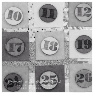 Stampin' Up! Morning Post Numbers and Designer Series Paper PreSchool Calendar by Kerry Willard Bray www.peoniesandpaperchains.com 2