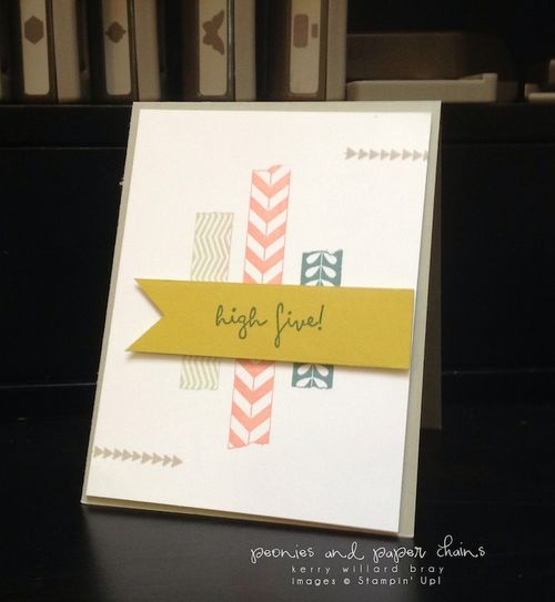 Stampin' Up! Tape It and High Five stamp sets on quick and easy card by Kerry Willard Bray www.peoniesandpaperchains.com