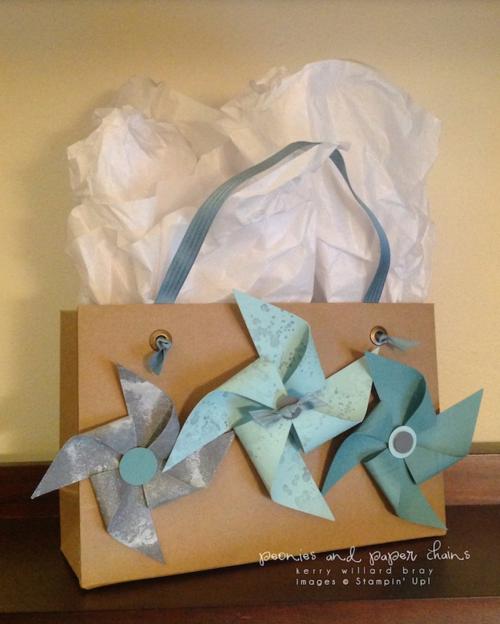 Stampin' Up! cardstock pinwheel gift bag by Kerry Willard Bray www.peoniesandpaperchains