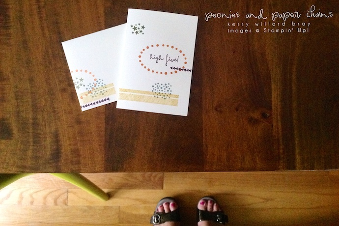 Stampin' Up! 2014-2016 In Colors and High Five stamp set project by Kerry Willard Bray www.peoniesandpaperchains.com 4