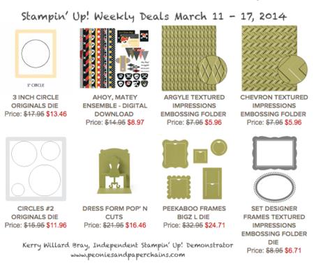 Stampin' Up! Weekly Deals March 11-17, 2014, Kerry Willard Bray, www.peoniesandpaperchains.com