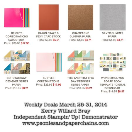 Stampin' Up! Weekly Deals March 25-31 2014 Kerry Willard Bray www.peoniesandpaperchains.com