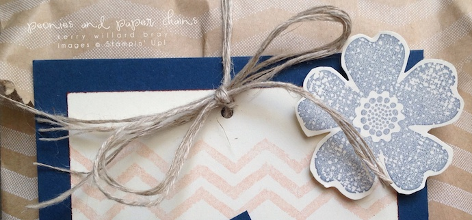 Stampin' Up! Flower Shop and Work of Art thank you gift bag by Kerry Willard Bray www.peoniesandpaperchains.com bow
