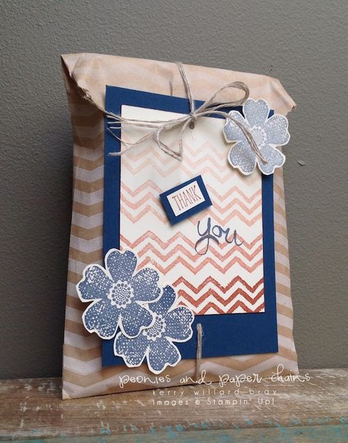 Stampin' Up! Flower Shop and Work of Art thank you gift bag by Kerry Willard Bray www.peoniesandpaperchains.com