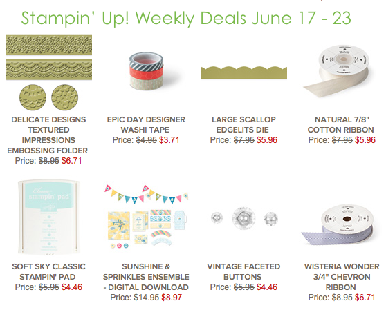 Stampin' Up! Weekly Deals June 17-23