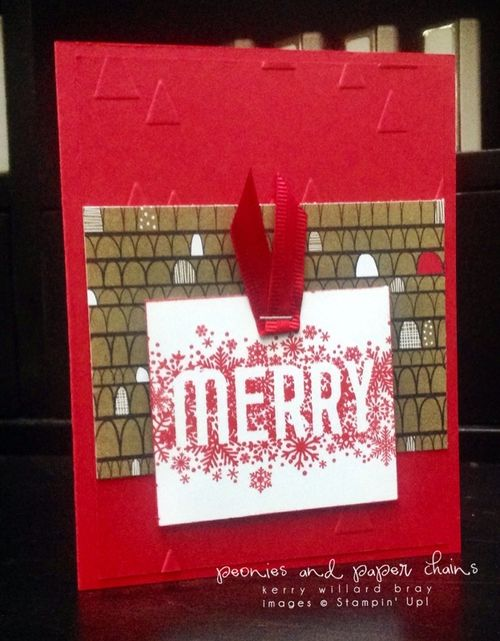 Stampin' Up! Santa + Co Merry card by Kerry Willard Bray www.peoniesandpaperchains.com