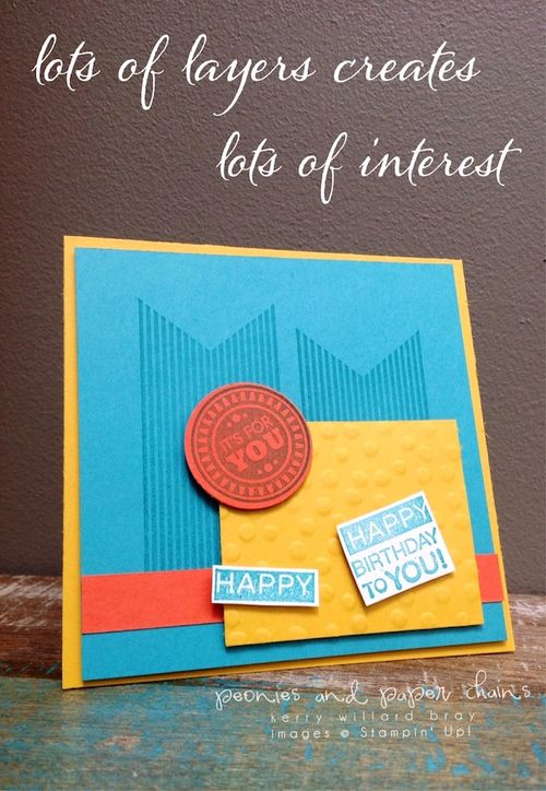 Stampin' Up! Amazing Birthday square card from scraps by Kerry Willard Bray www.kerrywillardbray.com