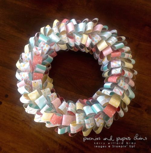 Stampin' Up! Best Day Ever DSP looped paper wreath by Kerry Willard Bray 4