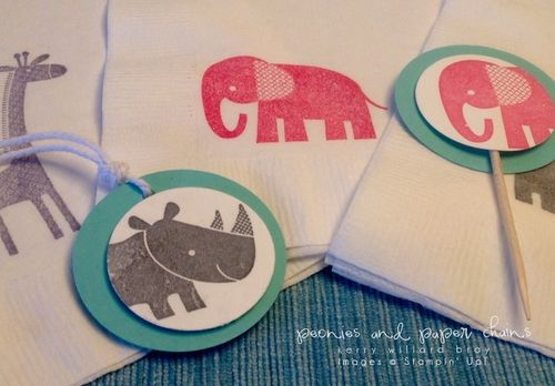 Stampin' Up! Zoo Babies napkins and party pieces by Kerry Willard Bray www.kerrywillardbray.com