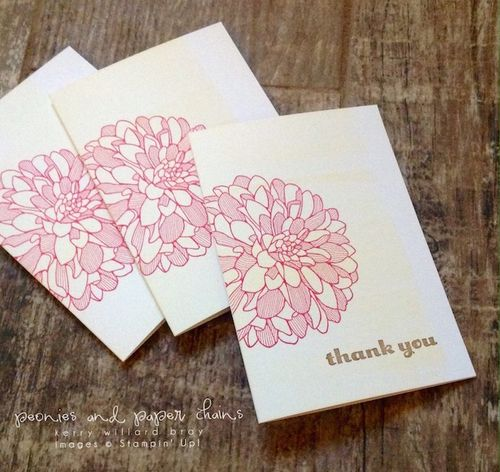 Stampin' Up! Regarding Dahlias thank you note cards by Kerry Willard Bray www.peoniesandpaperchains.com