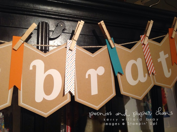 Stampin' Up! Celebrate Banner decorated by Kerry Willard Bray www.peoniesandpaperchains.com