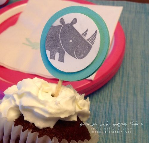 Stampin' Up! Zoo Babies cupcake topper by Kerry Willard Bray www.kerrywillardbray.com