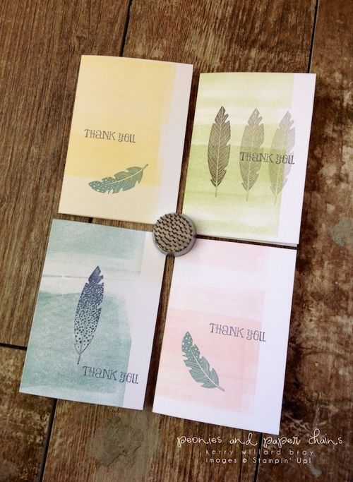 Stampin' Up! Four Feathers cards by Kerry Willard Bray www.peoniesandpaperchains.com 4