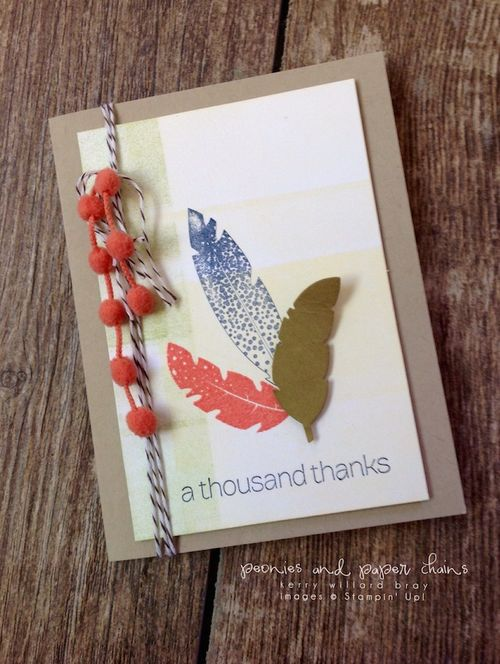 Stampin' Up! Four Feathers cards by Kerry Willard Bray www.peoniesandpaperchains.com 3